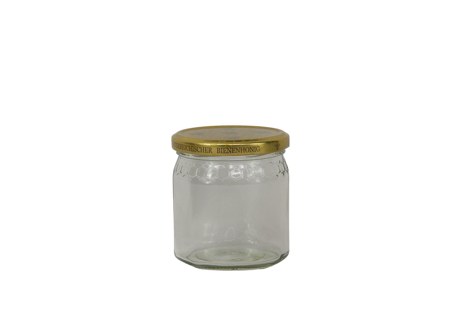 Honigglas 0,5kg Wabenmusterreihe